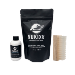 NuKixx Travel Shoe Cleaner Kit with 3oz shoe cleaner and standard brush